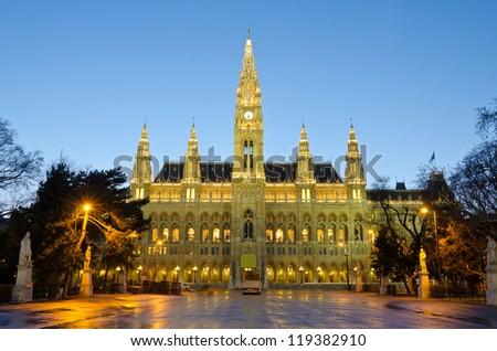 Vienna's Town Hall (Rathaus), Austria - stock photo