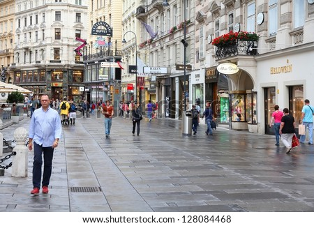 VIENNA - SEPTEMBER 5: People stroll on September 5, 2011 in Graben street in Vienna. As of 2008, Vienna was the 20th most visited city worldwide (by international visitors). - stock photo