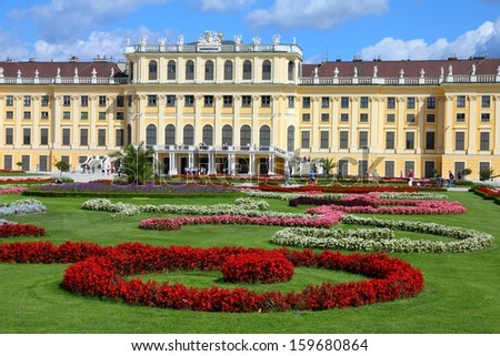 VIENNA - SEPTEMBER 6: People visit Schoenbrunn Gardens on September 6, 2011 in Vienna. As of 2008, Vienna was the 20th most visited city worldwide (by international visitors). - stock photo