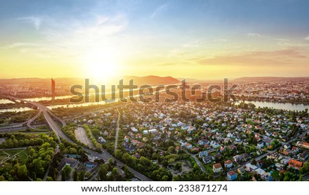 Vienna skyline at sunset with danube river, Austria - stock photo