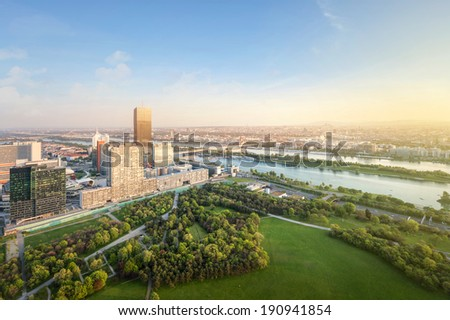 Vienna skyline with danube river, Austria - stock photo
