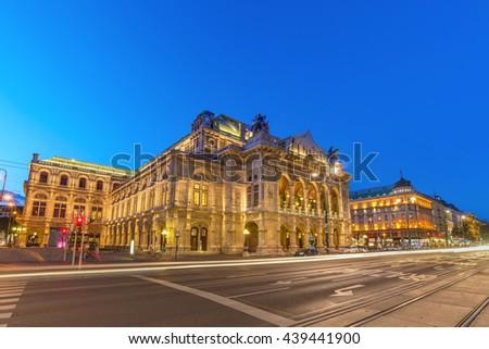 Vienna State Opera at night, Austria - stock photo