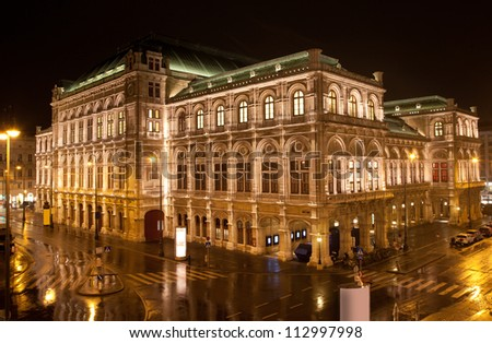 Vienna State Opera in night, Austria - stock photo
