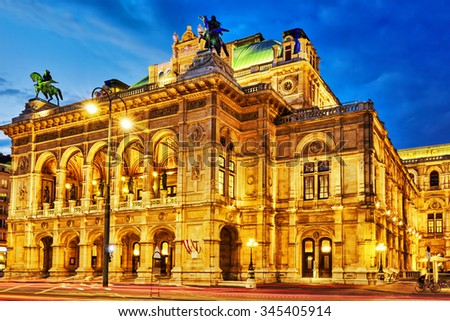 Vienna State Opera is an opera house.It is located in the centre of Vienna, Austria. It was originally called the Vienna Court Opera (Wiener Hofoper) - stock photo