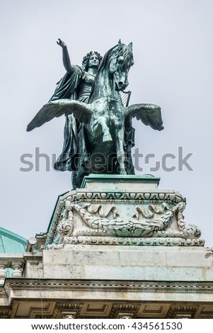 Vienna State Opera (Wiener Hofoper, 1868) in the Neo-Renaissance style is considered one of the most important opera houses in the world. Austria. Sculptural composition of the facade. - stock photo