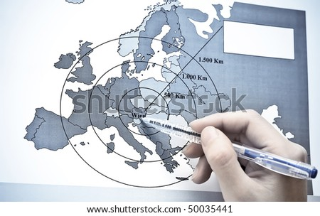 Vienna - The Center of Europe on map - stock photo