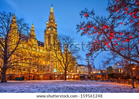 Vienna Town Hall at dusk - stock photo