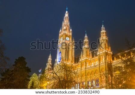 Vienna Town Hall  close view at night, Christmas - stock photo