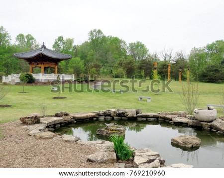 Vienna, Virginia, USA   April 27, 2016: Korean Bell Garden At Meadowlark