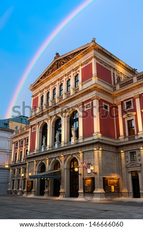 Viennese Music Association (Wiener Musicverein), a concert hall built in 1870 in Vienna, Austria - stock photo