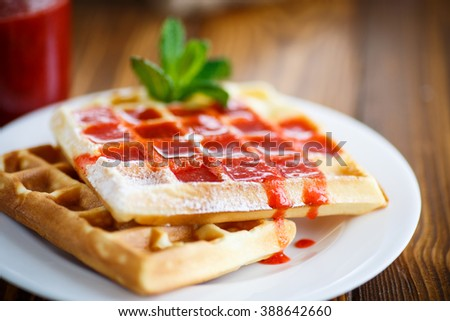 Viennese sweet waffles with strawberry jam - stock photo