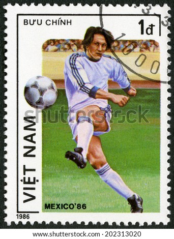 VIET NAM - CIRCA 1986: A stamp printed in Viet Nam dedicated 1986 World Cup Soccer Championships, Mexico City, circa 1986 - stock photo