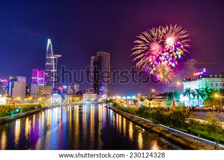 Viet Nam National Days on 2 September 2014: Fireworks in Ho Chi Minh City, the day commemorating the Vietnam Declaration of Independence from France on September 2, 1945  - stock photo