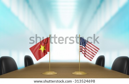 Vietnam and United States relations and trade deal talks 3D rendering - stock photo