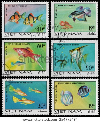 VIETNAM - CIRCA 1980: A postage stamp printed in the Vietnam shows exotic marine fish, circa 1980 - stock photo