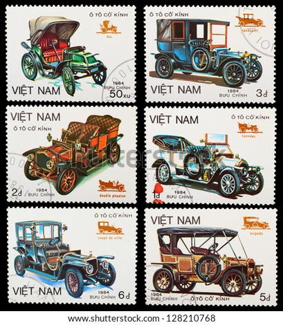 VIETNAM - CIRCA 1984: A set of postage stamps printed in VIETNAM shows historic cars, series, circa 1984 - stock photo
