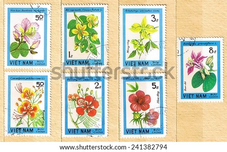 VIETNAM - CIRCA 1984: A set of postage stamps printed in Vietnam shows wildflowers, series, circa 1984  - stock photo