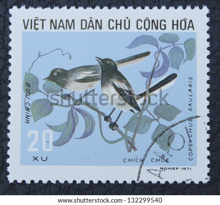 VIETNAM - CIRCA 1971: A stamp printed in the Vietnam, shows birds, circa 1971