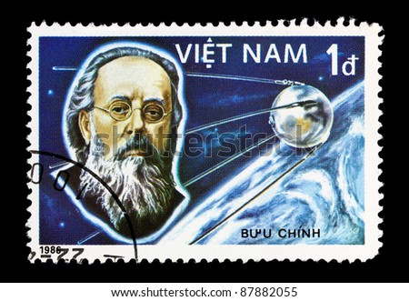 VIETNAM - CIRCA 1986: A stamp printed in the Vietnam shows Sputnik and Tsiolkovsky , circa 1986.