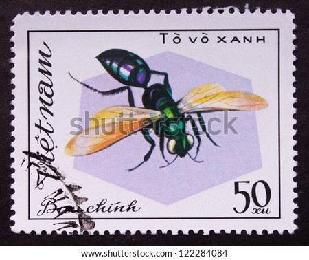 VIETNAM  - CIRCA 1982: A stamp printed in Viet nam shows a insect, circa 1982.