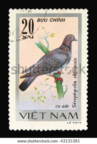 VIETNAM - CIRCA 1965: A stamp printed in Vietnam showing dove, circa 1965