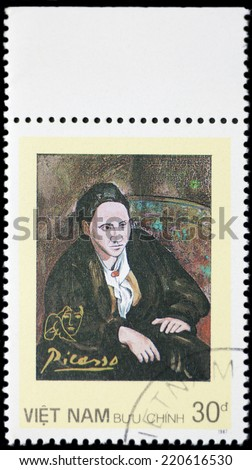 VIETNAM-CIRCA 1987: A stamp printed in Vietnam shows a canvas image done by Pablo Picasso, circa 1987 - stock photo