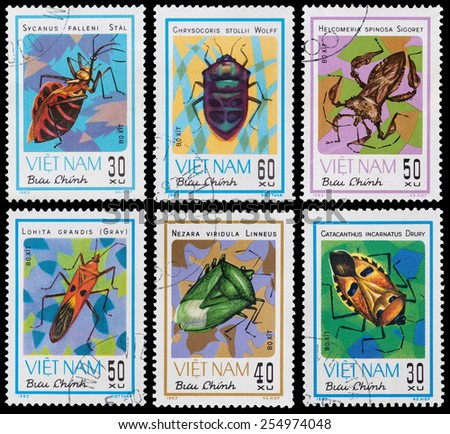 VIETNAM - CIRCA 1982: A stamp printed in Vietnam shows animal insect stink bug, circa 1982 - stock photo
