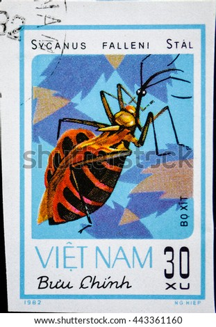VIETNAM - CIRCA 1982: A stamp printed in Vietnam shows animal insect stink bug Sycanus falleni Stal, circa 1982 - stock photo