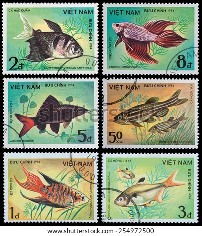 VIETNAM - CIRCA 1984: A stamp printed in Vietnam shows fish, circa 1984 - stock photo
