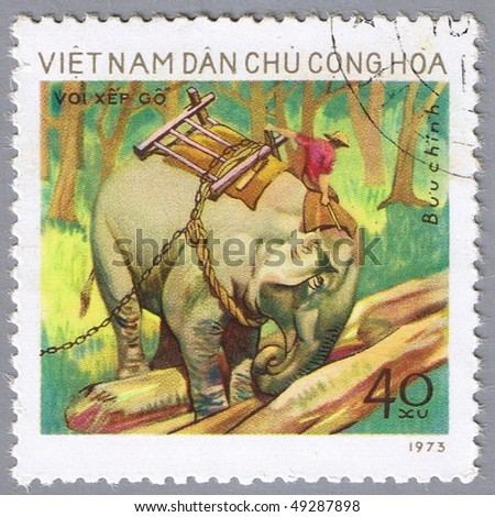VIETNAM - CIRCA 1973: A stamp printed in Vietnam shows image of an elephant, series, circa 1973