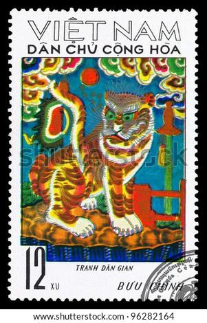 VIETNAM - CIRCA 1981: A stamp printed in VIETNAM shows Panthera tigris, series , circa 1981 - stock photo