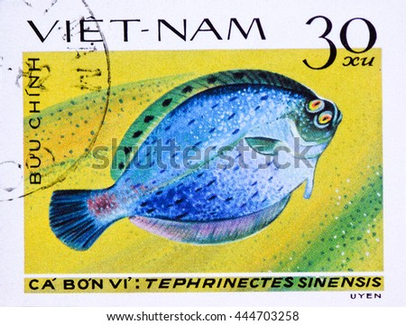 VIETNAM - CIRCA 1982: A stamp printed in Vietnam shows series is devoted to saltwater fish, circa 1982 - stock photo