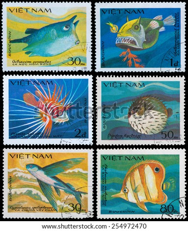 VIETNAM - CIRCA 1984: A stamp printed in Vietnam shows series monster saltwater fish, circa 1984 - stock photo