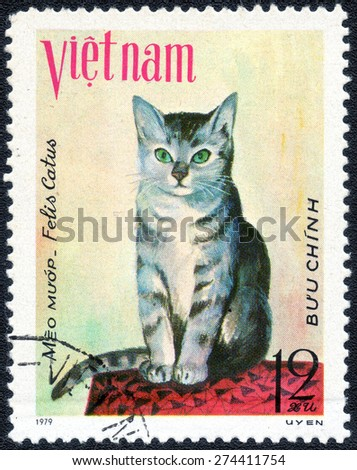 "VIETNAM - CIRCA 1979: A stamp printed in Vietnam shows series of images ""Cat Breeds"", circa 1979  - stock photo"