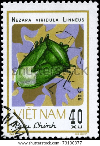 "VIETNAM - CIRCA 1982: A Stamp printed in VIETNAM shows the image of a Green Stink Bug with the description ""Nezara viridula Linneus"" from the series ""Chinch Bugs"", circa 1982"