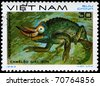 """VIETNAM - CIRCA 1983: A Stamp printed in VIETNAM shows the image of a Jackson's Chameleon with the description """"Chamaeleo jackson"""" from the series """"Reptiles"""", circa 1983 - stock photo"""