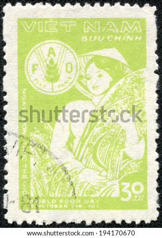 VIETNAM - CIRCA 1980: A stamp printed in VIETNAM shows World food day , circa 1980 - stock photo
