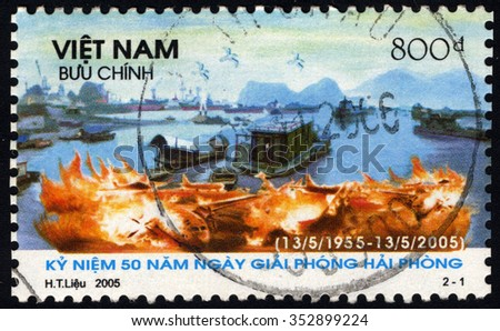 VIETNAM - CIRCA 2005: A stamp printed in Vietnam to commemorate 50th Anniversary of Liberation of Hai Phong show Military Events, circa 2005