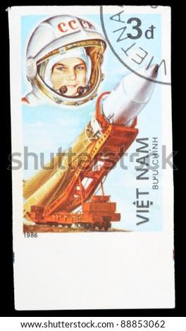 VIETNAM - CIRCA 1986: An airmail stamp printed in Vietnam shows a spacemans, series, circa 1986. - stock photo