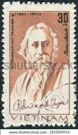 VIETNAM - CIRCA 1982: Postage stamp printed in Vietnam, shows Rabindranath Tagore, Indian poet, circa 1982 - stock photo