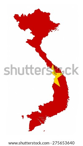vietnam country flag map shape national symbol - stock photo