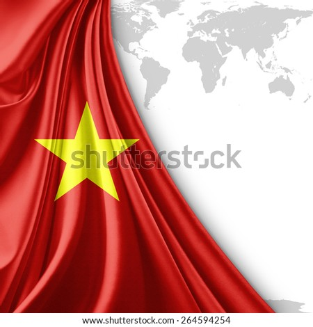 Vietnam flag and world map background - stock photo