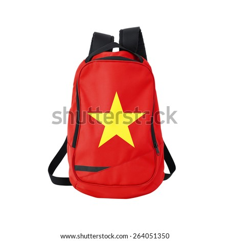 Vietnam flag backpack isolated on white background. Back to school concept. Education and study abroad. Travel and tourism in Vietnam - stock photo