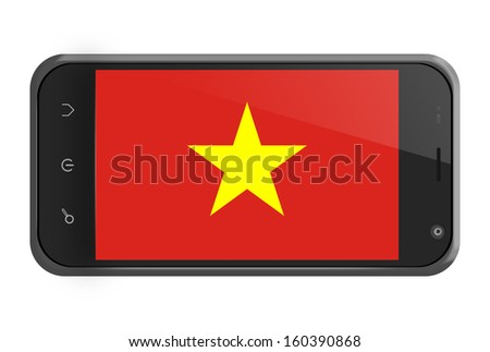 Vietnam flag on smartphone screen isolated on white - stock photo