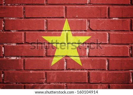 Vietnam flag on the brick wall - stock photo