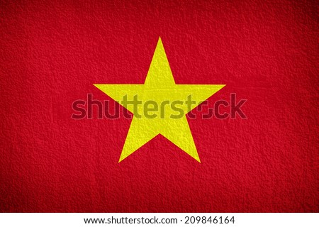 vietnam flag pattern on the concrete wall - stock photo