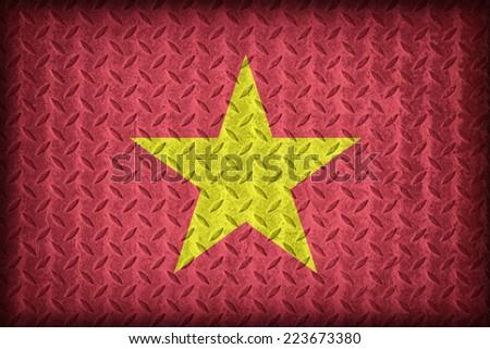 Vietnam flag pattern on the diamond metal plate texture ,vintage style - stock photo