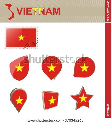 Vietnam Flag Set, Flag Set 166. Rasterized Copy. - stock photo