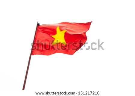 Vietnam flag with white background - stock photo