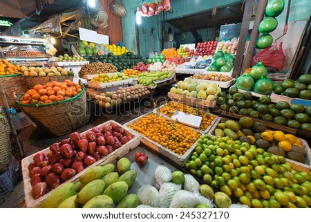 Vietnam fruit shop offering various kinds of fruit